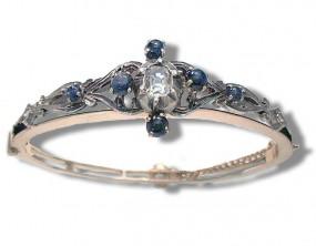 Antike Armspange mit über 1ct Diamanten und Sternsaphiren