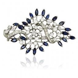 Diamantbrosche mit Saphiren 4,765ct und Diamanten 2,344ct, 750er Weissgold