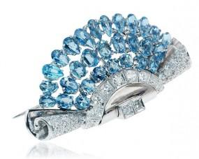 Fächer Aquamarin-Brosche mit 3,037ct Aquamarine und 0,454ct Diamanten