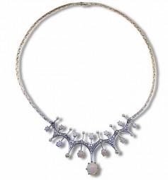 Opal-Collier Weißgold 18 Kt mit Opalen, Diamanten und Perlen